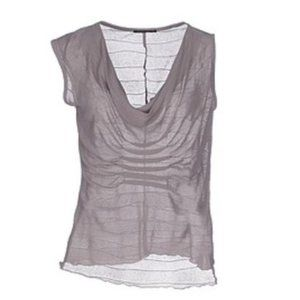 JACOB COHEN Mixed Sleeve Draped Top Dove Gray M